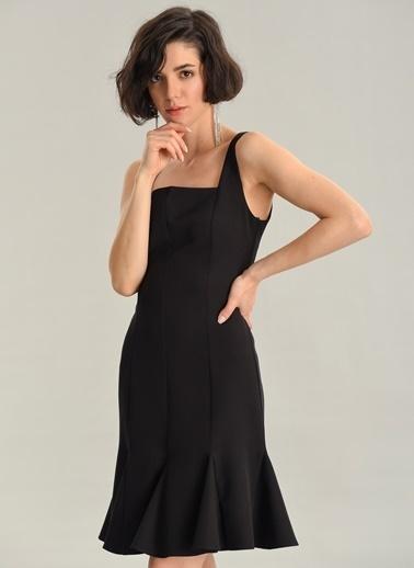 Agenda Kare Yaka Mini Elbise Siyah